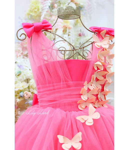 Детское платье Флер, в цвете Барби с персиковыми бабочками