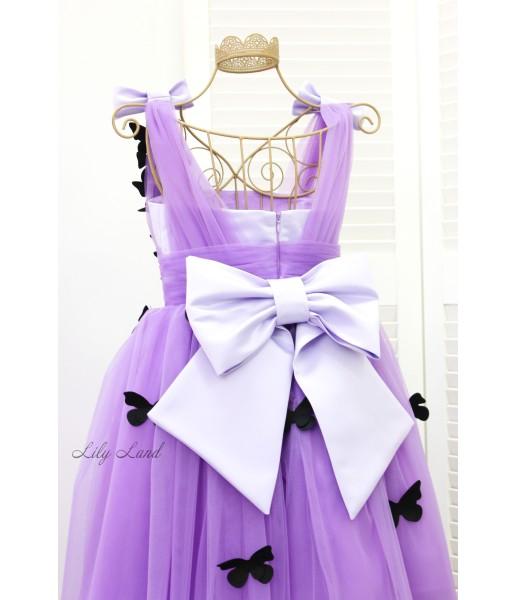 Детское платье Флер, в фиолетовом цвете с черными бабочками