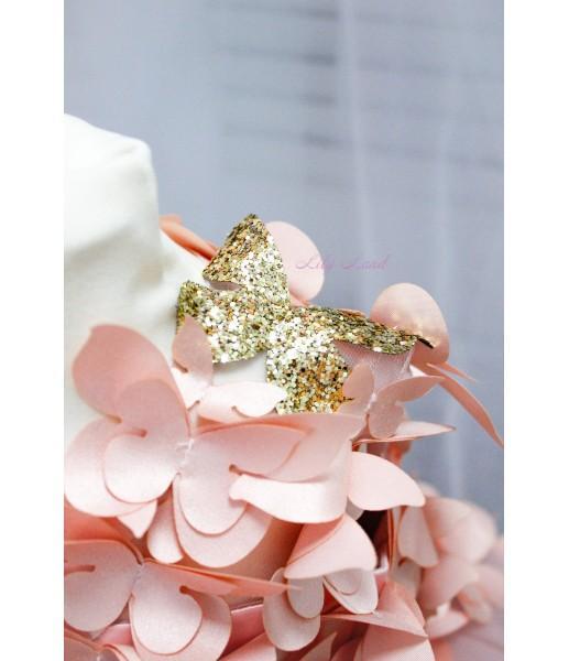Детское платье Флер,цвет персик  бабочки персик