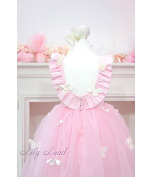 Детское платье Флер, в цвете розовый с вырезом на спинке