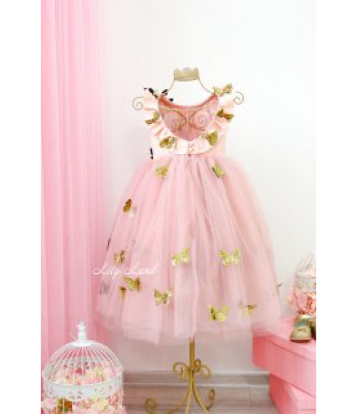Детское платье Флер, в цвете пудра, с бабочками из золотого глитера, с вырезом на спинке