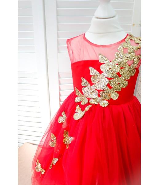 Детское платье Флер, цвет красный  бабочки из глитера золото