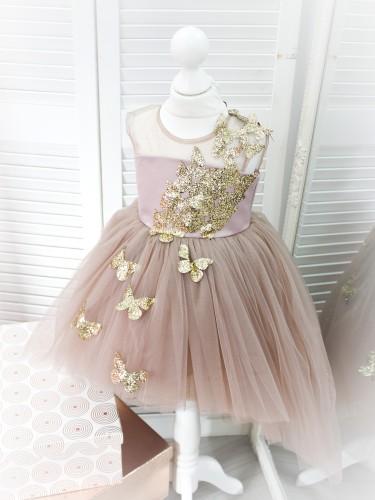 Детское платье Флер, цвет капучино  бабочки из глитера золото