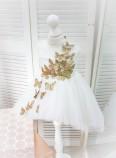 Детское платье Флер, цвет айвори бабочки из глитера золото