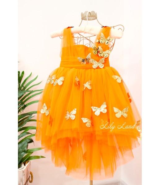 Детское платье Флер,топ открытый на плечах бретельки из евро фатина цвет оранжевый