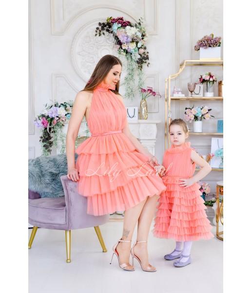 Комплект платьев Кристалл, цвет коралл