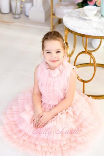 Детское платье Кристалл, цвет розовая пудра