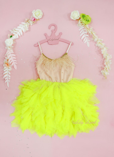 Детское платье Lily Dress, цвет зеленый неон