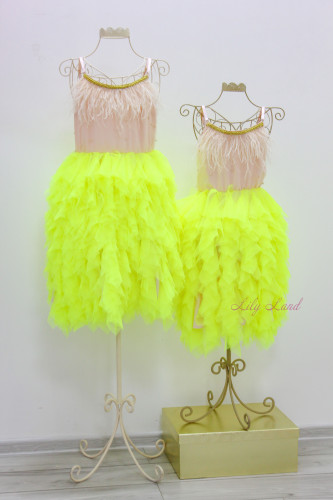 Комплект нарядных  платьев LilyDress, цвет желтый неон