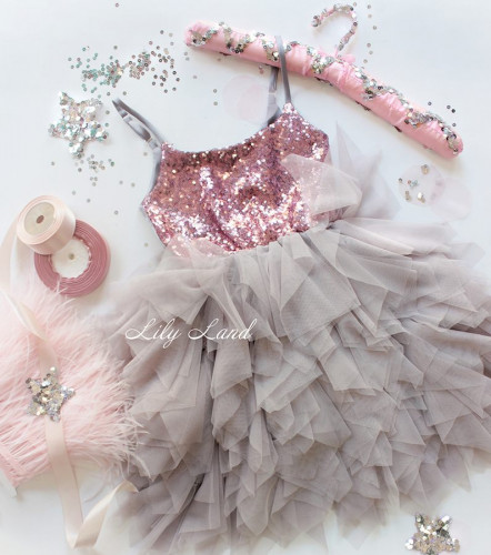 Детское платье Lily Dress, цвет розовый и шампань