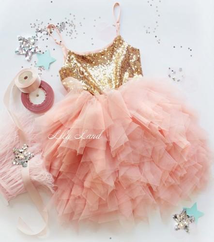 Детское платье Lily Dress, цвет золото и персик
