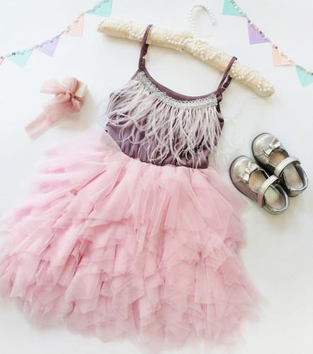 Детское платье Lily Dress, цвет фиолетовый и розовый
