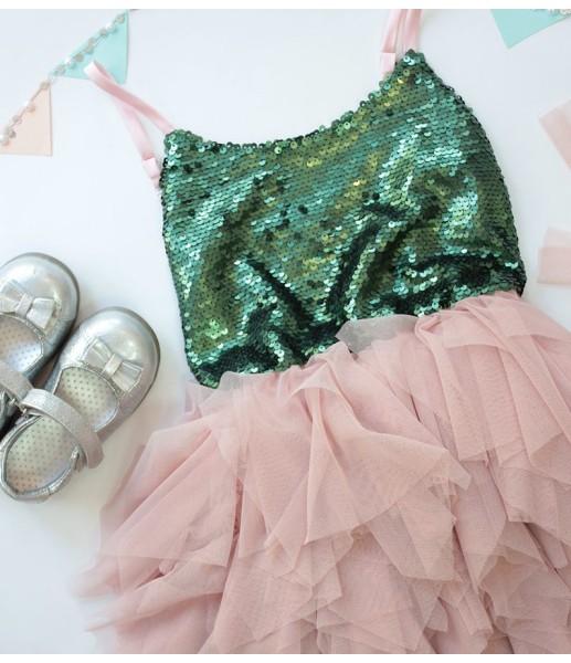Детское платье Lily Dress, цвет зеленый и розовый