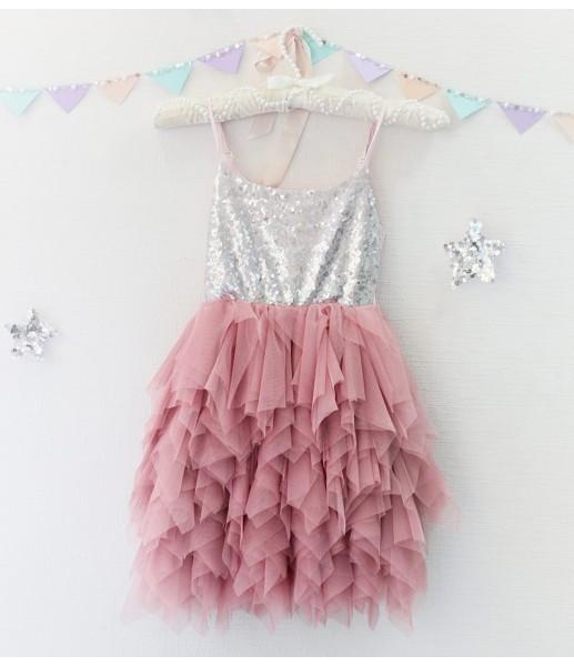 Детское платье Lily Dress, цвет чайная роза и серебро