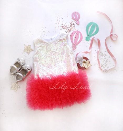 Детское платье Лолита цвет пайетки перламутр ,неоново-розовый фатин