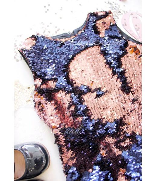 Детское платье Лолита цвет сине-розовый