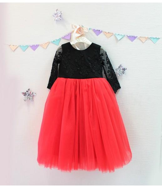 Детское платье Мелисса, цвет черный и красный