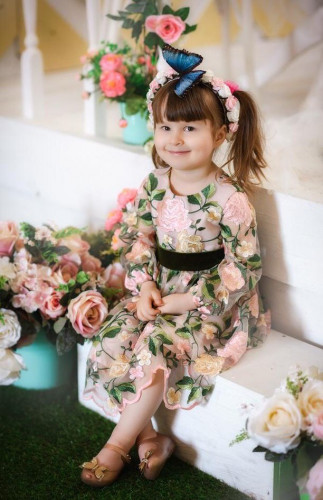 Детское платье Мэри, цвет пудра с зеленым
