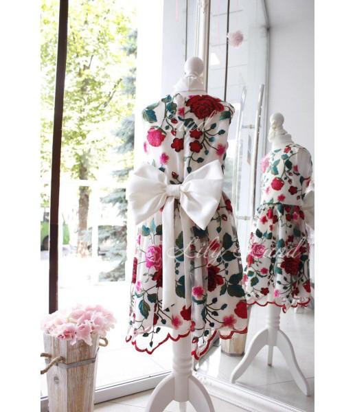 Детское платье Мэри, цвет красный с белым