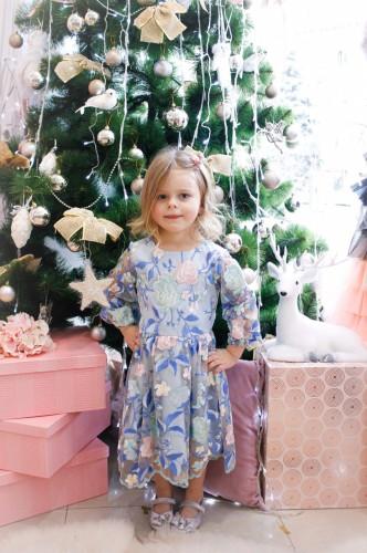 Детское платье Мэри, цвет голубой с длинным рукавом