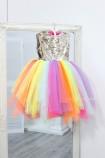 Детское платье MyLittlePonny без шлейфа, с двусторонней золотой пайеткой