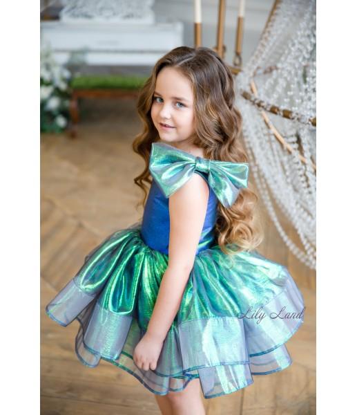 Детское нарядное платье Нелли, цвет синий неон