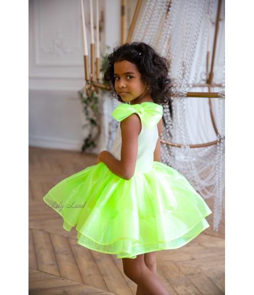 Детское нарядное платье Нелли, цвет зеленый неон