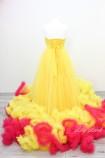 Комплект нарядных платьев Облако цвет желтый с малиной