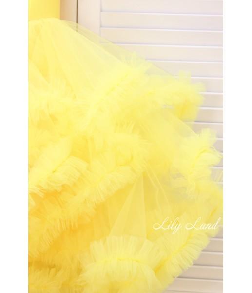 Детское нарядное платье Облако, цвет желтый с перьями