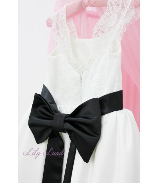 Детское платье Офелия, цвет белый с черным поясом