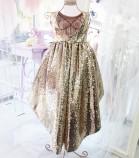 Детское платье со шлейфом из пайеток, цвет золото и красный