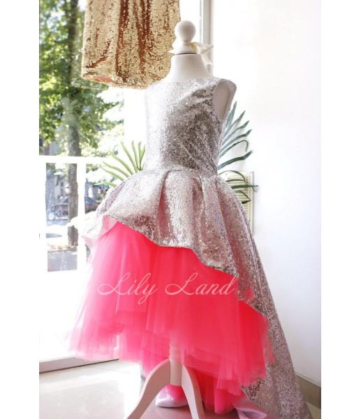 Детское платье со шлейфом из пайеток, цвет серебро и неоново розовый