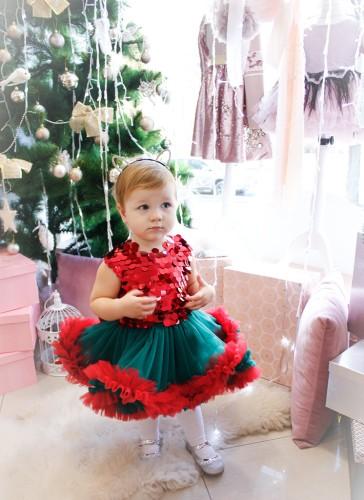 Детское платье Пайетка крупная красная пайетка с зелёно-красным фатином