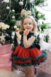 Детское платье Пайетка крупная зелёная пайетка с зелёно-красным фатином
