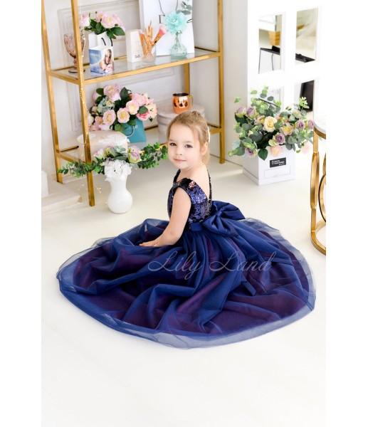 Детское платье Пайетка мелкая двусторонняя сине-розовая и синий фатин