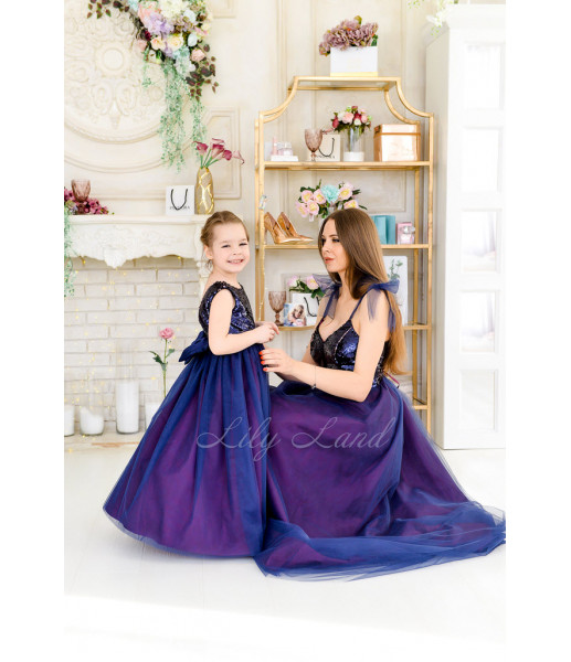 Комплект платьев Пайетка мелкая двусторонняя сине-розовая и синий фатин