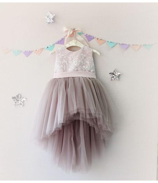 Детское платье с отделкой из бисера, цвет шампань