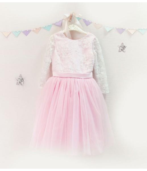 Детское платье с отделкой из бисера, в цвете пудра