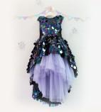 Детское платье со шлейфом из пайеток, цвет черный и лаванда