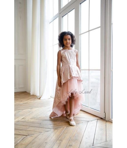 Детское платье со шлейфом из пайеток, цвет бронза с пудрой