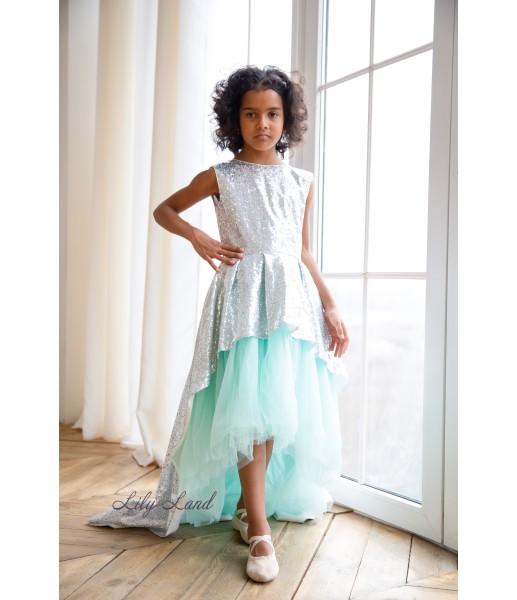 Детское платье со шлейфом из пайеток, цвет серебро с голубым