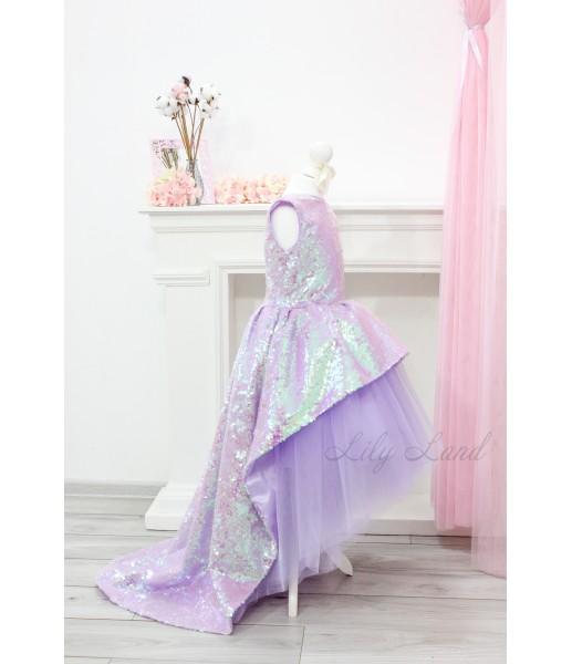 Детское платье со шлейфом из пайеток, цвет лаванда