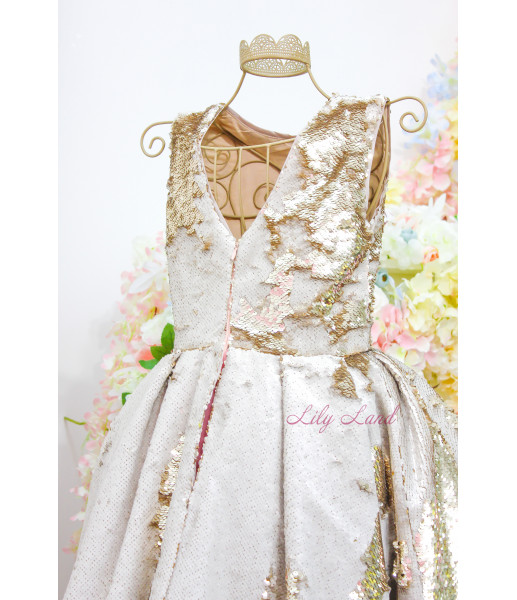 Детское платье со шлейфом из двусторонней пайетки, цвет золото с розовым