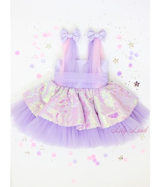 Детское платье Синдерелла, цвет лаванда с пайеткой