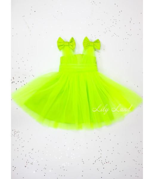 Детское платье Синдерелла, цвет зеленый неон