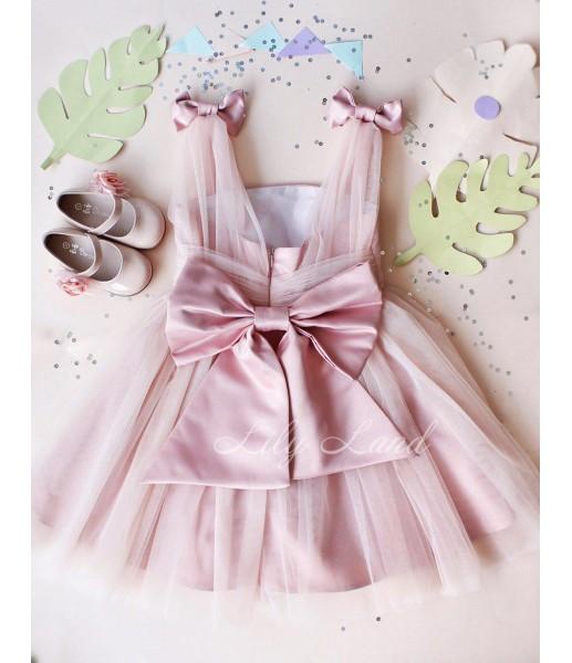 Детское платье Синдерелла, цвет бледно-розовый