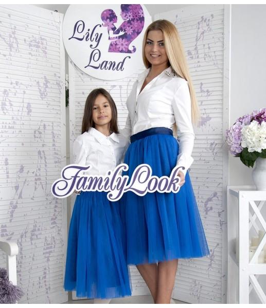 Фатиновая юбка для дочки, цвет электрик