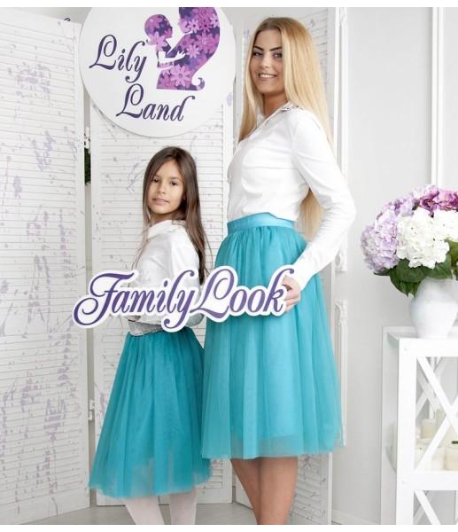 Фатиновая юбка для мамы, цвет бирюза