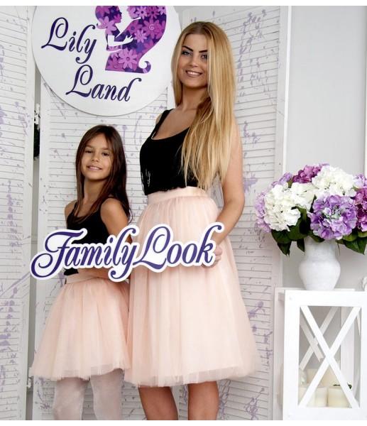 Фатиновая юбка для дочки, цвет персиковой пудры