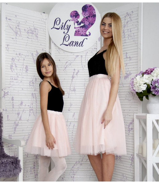 Фатиновая юбка для дочки, цвет розовой пудры